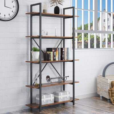 5-Tier Industrial Bookcase With Rustic Wood And Metal Frame - Wayfair