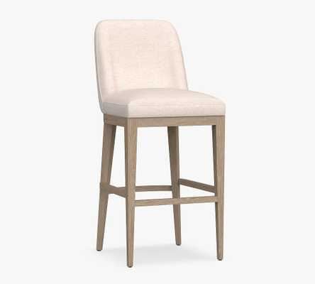 Layton Upholstered Bar Height Bar Stool, Seadrift Leg, Basketweave Slub Oatmeal - Pottery Barn