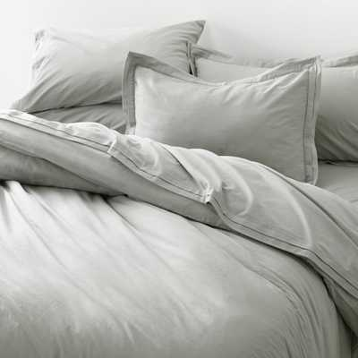Mellow Sterling Organic Cotton Full/Queen Duvet Cover - Crate and Barrel