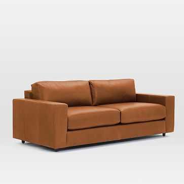 "Urban 84.5"" Sofa, Poly, Vegan Leather, Saddle - West Elm"
