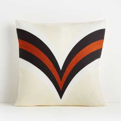 """Apres Ski 20"""" Cognac Pillow with Feather-Down Insert - Crate and Barrel"""