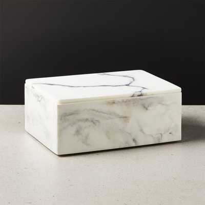 Vaughan Marbleized Ivory Resin Box Large - CB2