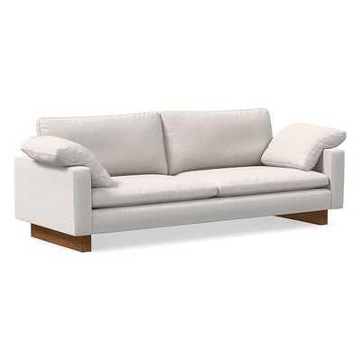 "Harmony Petite 92"" Sofa, Down Blend, Performance Coastal Linen, Stone White, Dark Walnut - West Elm"