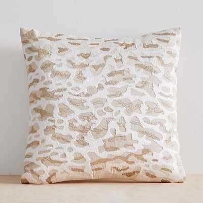 "Embroidered Animal Print Pillow Cover, 20""x20"", Metallic Gold - West Elm"
