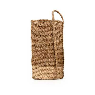 Zentique Two-toned Hand Woven cylindrical Seagraa and Corn Husk Leaf Large Basket with Single Handle, Brown and Beige - Home Depot
