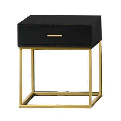 Angelos 1 - Drawer Nightstand in Black/Gold - Wayfair