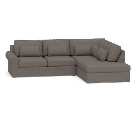Big Sur Roll Arm Slipcovered Deep Seat Left 3-Piece Bumper Sectional, Down Blend Wrapped Cushions, Performance Heathered Tweed Graphite - Pottery Barn