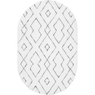 nuLOOM Beaulah Modern Geometric Shag White 5 ft. x 8 ft. Oval Rug - Home Depot