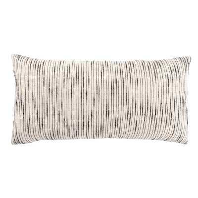 "Saxon Stripe White/ Gray Throw Pillow 12X24 inch Size: 12"" x 24"", Fill Material: Down - Perigold"