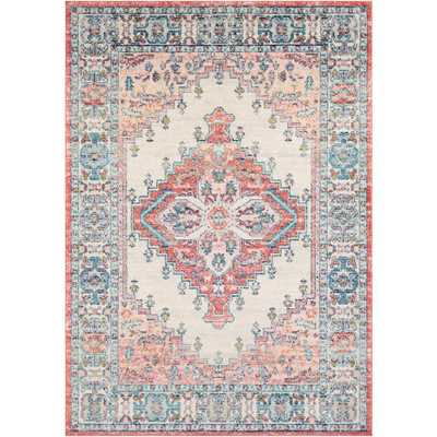 Artistic Weavers Zarina Pink 6 ft. 7 in. x 9 ft. Medallion Area Rug, Blush - Home Depot