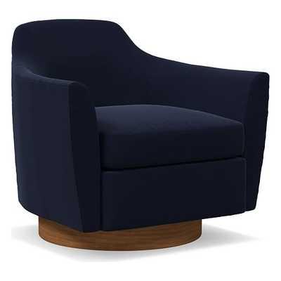 Haven Swivel Chair, Poly, Distressed Velvet, Ink Blue, Dark Walnut - West Elm