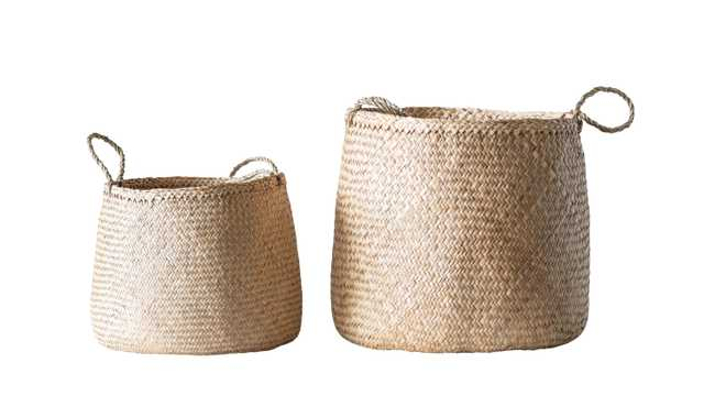 Beige Woven Seagrass Basket with Handles (Set of 2 Sizes) - Nomad Home