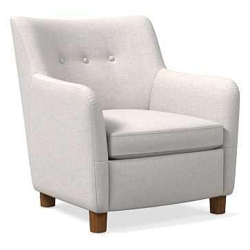 Teddy Chair, Performance Coastal Linen, Stone White, Dark Walnut - West Elm