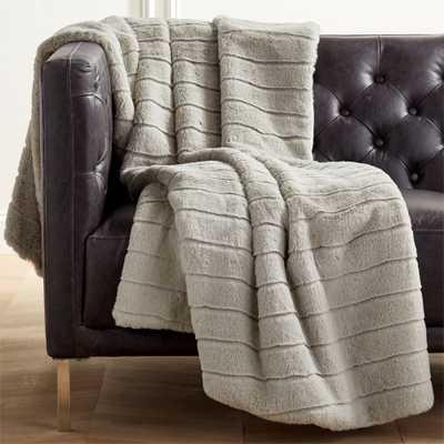 Grey Channeled Faux Fur Throw - CB2