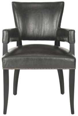 Desa 21''H Arm Chair - Brass Nail Heads - Antique Brown/Black - Arlo Home - Arlo Home