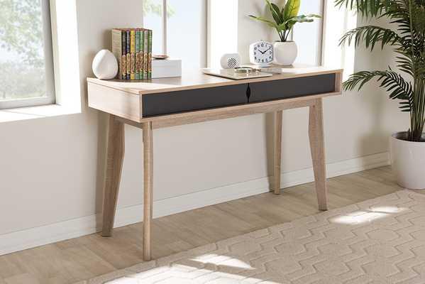 Baxton Studio Fella Mid-Century Modern 2-Drawer Oak and Grey Wood Study Desk - Lark Interiors