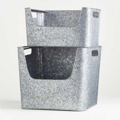 Large Silver Metal Stacking Storage Bin - Crate and Barrel
