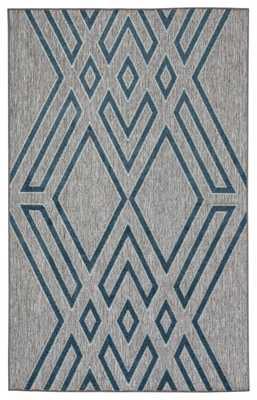 "Nikki Chu by Tasma Indoor/ Outdoor Geometric Gray/ Blue Area Rug (8'10""X11'9"") - Collective Weavers"