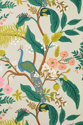 Rifle Paper Co. Peacock Wallpaper By Rifle Paper Co. in Beige - Anthropologie