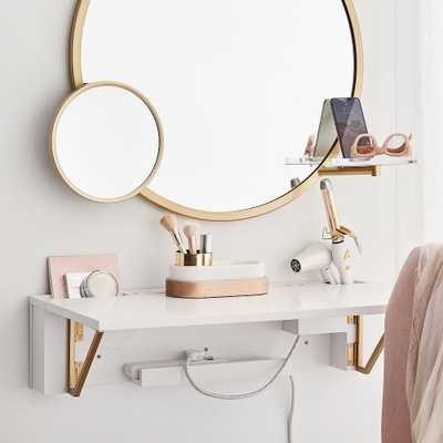 Glam USB Wall Desk, White/Gold - Pottery Barn Teen