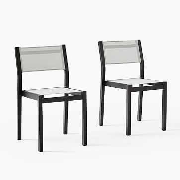 Portside Aluminum Outdoor Textilene Dining Chair, Antique Bronze, Set of 2 - West Elm