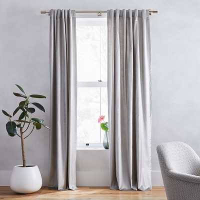 "Luster Velvet Curtain + Blackout Panel, Set of 2, Platinum 48""x96"" - West Elm"