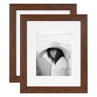 Kate and Laurel Edson 16 in. x 20 in. matted to 11 in. x 14 in. Walnut Brown Picture Frames (Set of 2) - Home Depot