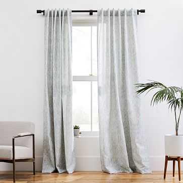 """Woodland Shine Jacquard Curtain, Washed Blue Gemstone, 48""""x84"""" - West Elm"""
