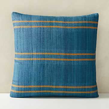 "Silk Stripes Pillow Cover, 20""x20"", Shadow Blue - West Elm"