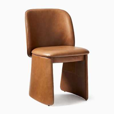Evie Dining Chair, Halo Leather, Saddle - West Elm