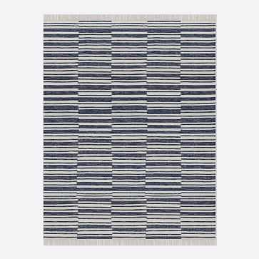 Stacked Stripes Rug, Midnight, 8'x10' - West Elm