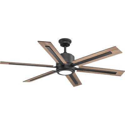 "60"" Lesure 6 Blade LED Ceiling Fan with Remote, Light Kit Included - Birch Lane"