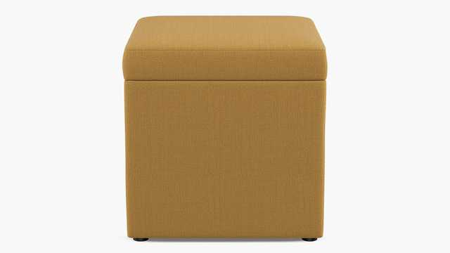 Cube Storage Ottoman | French Yellow Linen - The Inside