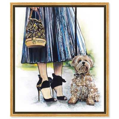 'Fashion and Glam Girl with dog Handbags' - Painting Print on Canvas - Wayfair