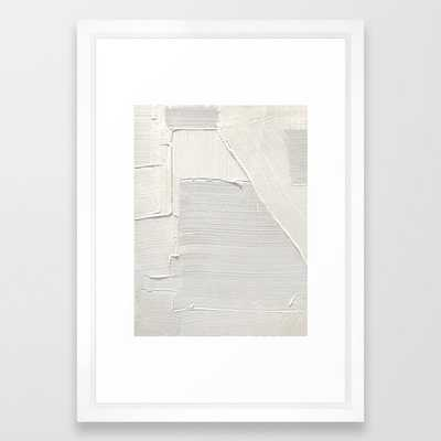 Relief [2]: An Abstract, Textured Piece In White By Alyssa Hamilton Art Framed Art Print by Alyssa Hamilton Art - Vector White - SMALL-15x21 - Society6