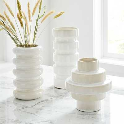Stepped Form Ceramic Round Steps, Transculent White, Set of 3 - West Elm