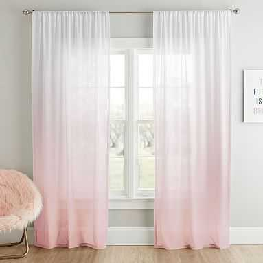 """Ombre Sheer Curtain Panel, 96"""", Powdered Blush - Pottery Barn Teen"""