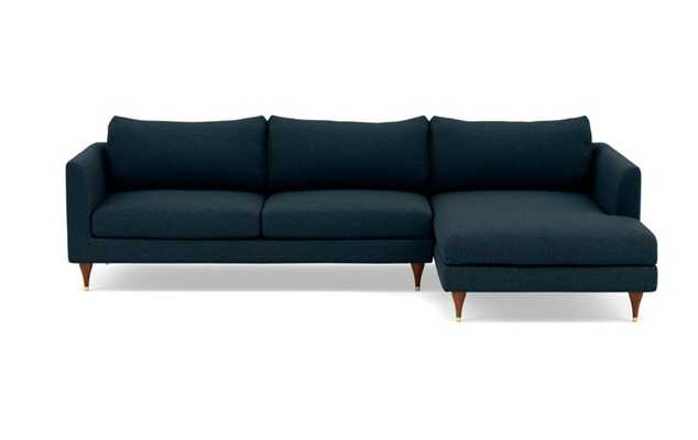 Owens Right Sectional with Blue Union Fabric, extended chaise, and Oiled Walnut with Brass Cap legs - Interior Define