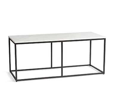 Delaney Marble Rectangular Coffee Table, Bronze - Pottery Barn