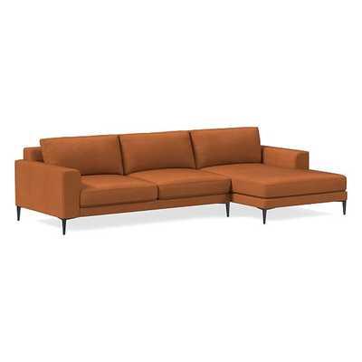 "Harper Sectional Set 03: LA 75"" Sofa, RA Chaise, Poly, Vegan Leather, Saddle, Antique Bronze - West Elm"