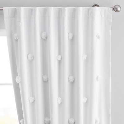 "Pom Pom Applique Blackout Curtain Panel, White, 44"" x 96"" - Pottery Barn Teen"