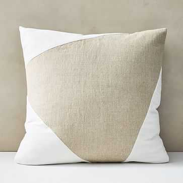 "Cotton Linen + Velvet Corners Pillow Cover, 24""x24"", Stone White - West Elm"