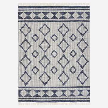 Diamond Mix Rug, Midnight, 9'x12' - West Elm