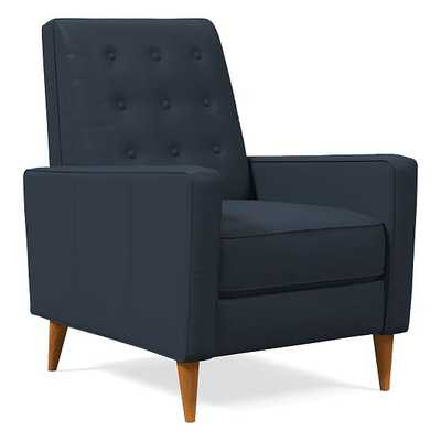 Rhys Midcentury Recliner, Sierra Leather, Navy, Pecan - West Elm