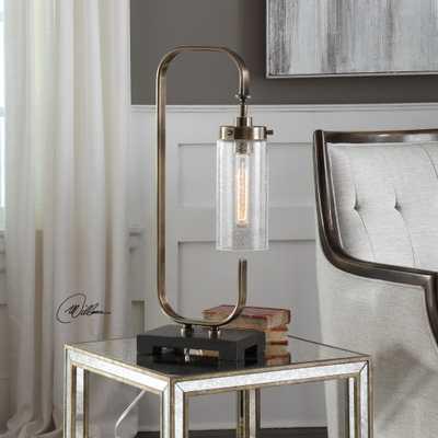 Keltie Seeded Glass Desk Lamp - Hudsonhill Foundry