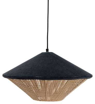 "17.5"" Round Cotton Velvet & Rattan Pendant Light with 6' Cord (Hardwire Only) - Moss & Wilder"