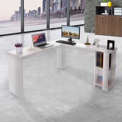 Home Office Corner Desk -  Simple Two Sides  Computer Desk(White) - Wayfair