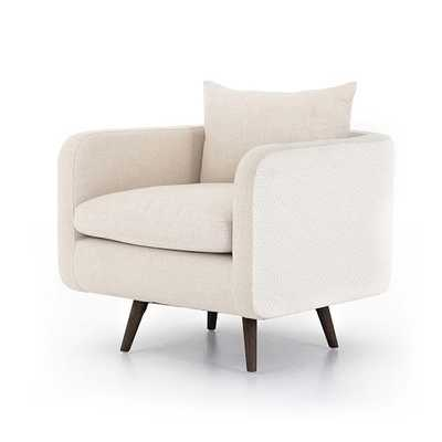 Rounded Back Swivel Chair, Natural Beige - West Elm