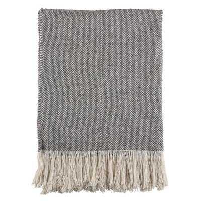 Mayer Herringbone Fringe Tassel Hem Blanket - AllModern