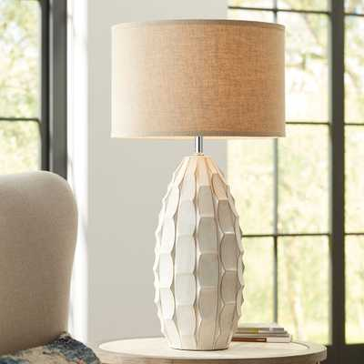 Cosgrove Oval White Ceramic Table Lamp with Table Top Dimmer - Style # 89K71 - Lamps Plus